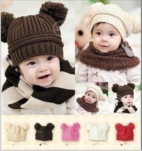 5pcs/lot new design Baby Hat Double Ball Fashion Baby Cap WARM Winter Hat infant cap infant hat girl's boy's gift