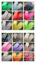"Free shipping 1"" (25mm) Satin ribbon printed 3 dots Ribbon DIY hairbow accessories cake gift package material 18 colors' stock(China)"