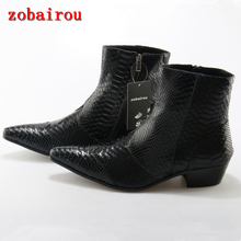 zobairou British Zapatos Snakeskin Pattern Genuine Leather Ankle Boots Man White Black Brown Botines Masculino Cowboy Boots Men(China)