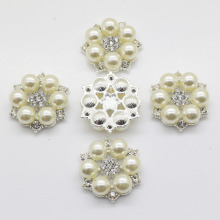 10pc 28mm lvory Pearl buttons metal Flower center for handmade flower Silver flatback rhinestone button DIY Fashion decorativos