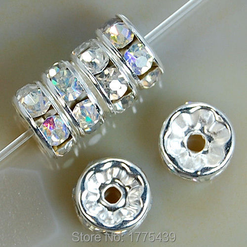 Free Ship 100Pcs Gold//Silver Plated AB Crystal Loose DIY Spacer Beads 8mm