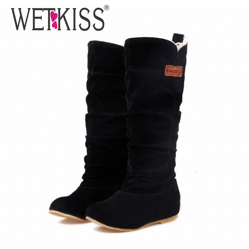WETKISS 2017 Big Size Spring hidden wedge Flock boots Fashion Flat Mid-calf women boots casual shoes sweet lace winter boots<br><br>Aliexpress