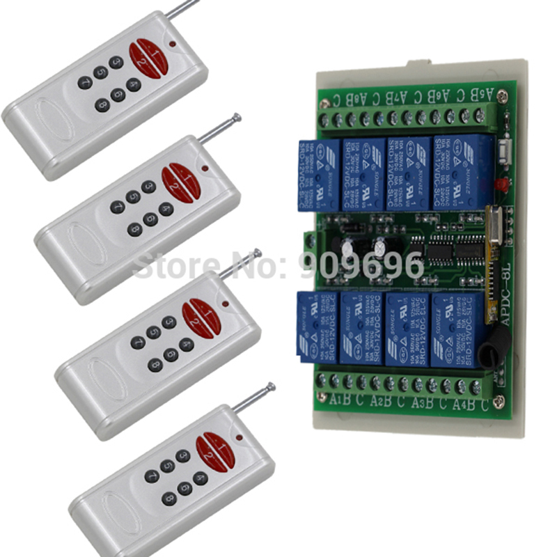 DC12V 8 CH 8CH Radio Controller RF Wireless Remote Control Switch System 315Mhz 4 Transmitters+1 Receiver<br>