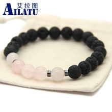 Ailatu Hot Sale Jewelry Black Lava Energy Stone Beads with Pink Crystal Retail for Men and Women's Gift Bracelet(China)