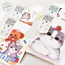13*18cm Cute Cat Hardcover Notebook Daily Memo Pad Diary Notepad with Bookmark Exercise Book Gift Stationery Papelaria(China)