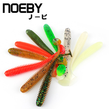 NOEBY 6pcs/lot Soft Lure 75mm/2.5g T-Tail Fishing lures Soft Worm Japan Shad Swimbait Jig Head Fly Fishing Silicon Rubber Fish(China)