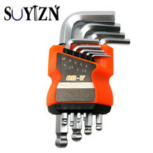 SUYIZN 9pc 1 Set CRV 1.5~10mm Hex Key Allen Wrench With Ball  Point End Silver Tone Set Of Tools Short Length L-Shape Wrench