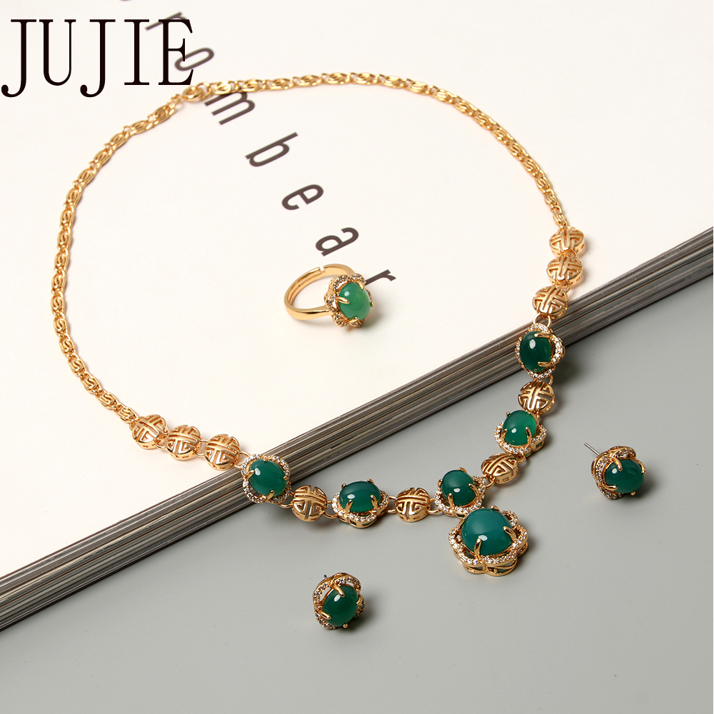 JUJIE Elegant Luxury Green Stone Jewelry Sets For Women 2019 New Fashion Earring ,Pendant Necklace,Adjustable Ring Sets