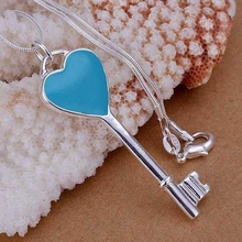 925 jewelry silver plated Jewelry Pendant Fine Fashion Cute  Blue heart key Necklace Pendants Top Quality CP065