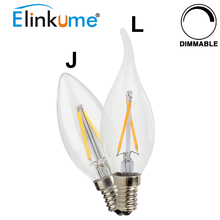 Buy Elinkume E14 LED Bulb 2W 4W 6W LED Dimmable Filament Lamp AC220V Candle Light replace 20-40w halogen bulb Vintage Chandelier for $1.48 in AliExpress store