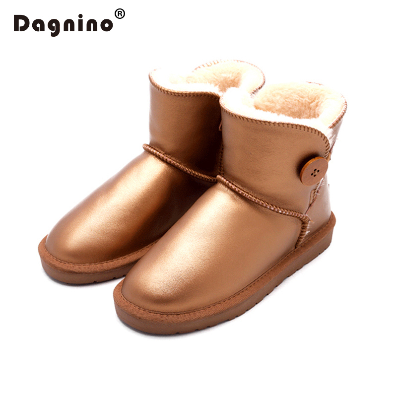 DAGNINO High Quality Fashion Golden Waterproof Genuine Leather Snow Boots Australia Womens Button Winter Warm Boots Woman Lady<br>