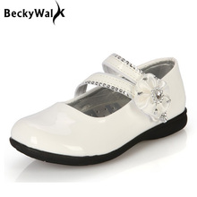 Girls leather shoes children flowers white black pink dress shoes kids princess students school shoes size 26-36 CSH046