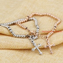 New Arrival Cute 316L Stainless Steel Cross Charm Beads Ball Chain Bracelet Women's Girl Silver Or Rose Gold Bangle Jewelry Gift