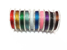 Hot Sale ! 0.45MM Thickness Mixed 10Rolls/lot   Stainless Steel Tiger Tail Wire For Chunky Necklace (1 small roll 10m )