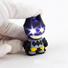 Hot Toys Superhero Batman Action Figure LED Flashlight Pendant Keychain Cute Model Keyrings Children Toys Best Gift
