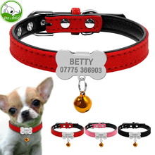 Personalized Dog Collars Custom Chihuahua Puppy Cat Collar Bone ID Tags Engraved For Small Medium Dogs Free Gift Bell XS S(China)