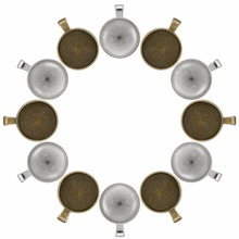 24 Pieces Silver and Bronze Pendant Trays Round Bezel with 24 Pieces Glass Cabochon Round Dome Tiles, Total 48 Pieces