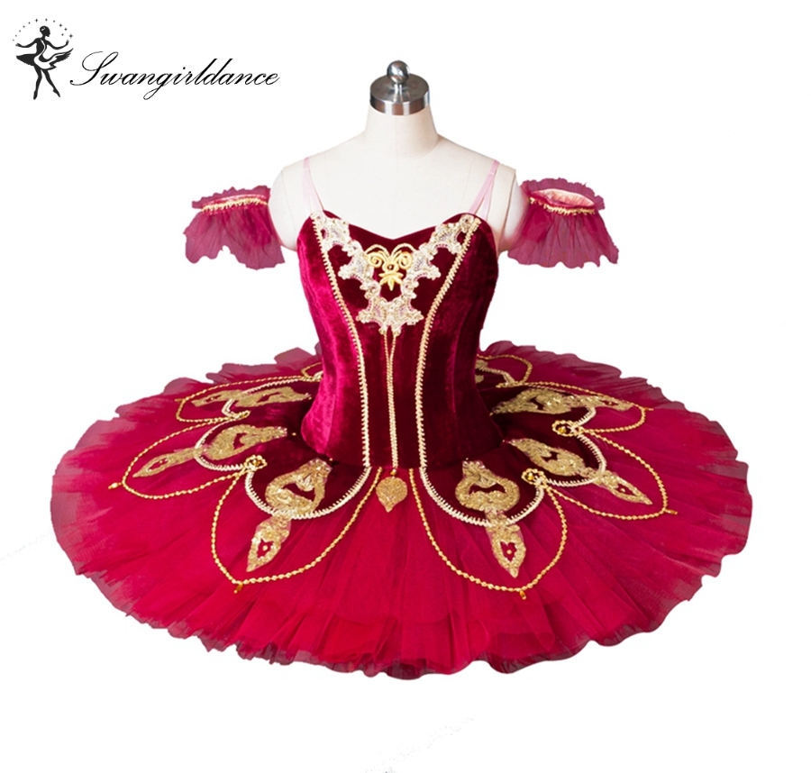 Red Spanish Professional Ballet Tutu Costume Girl Pancake Ballet Tutu Costume Dance Troupe Performance Tutu Don Quixote BT8936