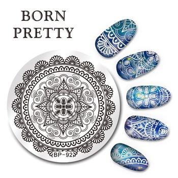 NACIDO PRETTY 5.5 cm Ronda Nail Art Sello Placa de la Imagen Plantilla de Diseño Arabesco BP-92