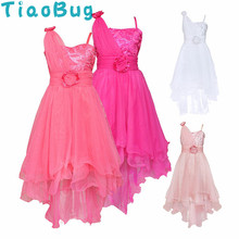 TiaoBug Mermaid Long Train Flower Girl Dresses Sequins Evening Party Dress Kids Elegant Ball Prom Dress First Communion Dresses