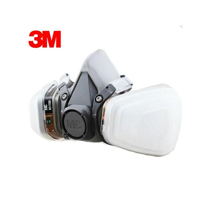 3M 6100+6001 Respirator Half-face Mask Painted Against Organic Vapor Gas Cartridges 7 Items for 1 Set LT066<br>