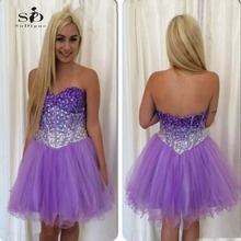 Kokteyl Elbiseleri 2017 Lavender Short Prom Party Dresses A Line Beaded and Rhinestones Short Prom Party Gown Hot Sale