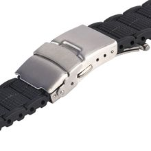 20 22  MM Black Silicone Rubber Waterproof Men& Women Watch Strap Band Deployment Buckle Watch Band