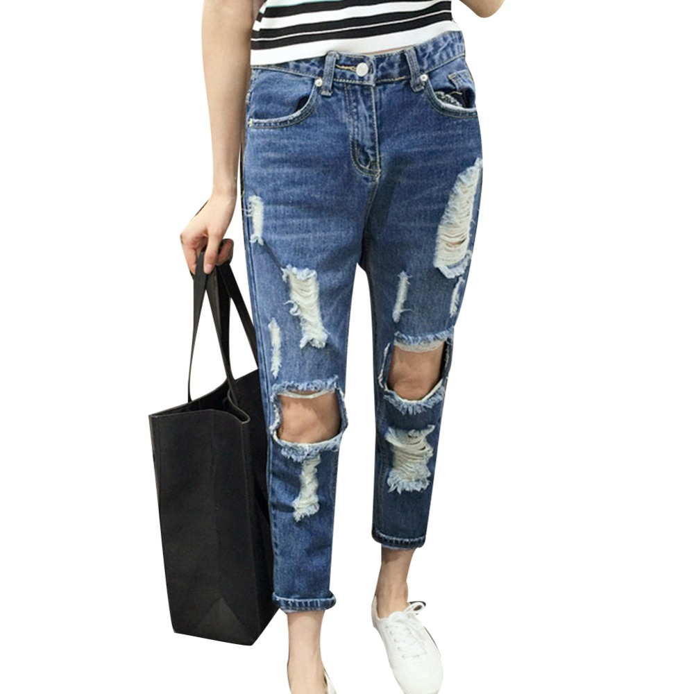 2017 New Fashion Streetwear Ankle Length Pants Distrressed Holes Jeans Women Vintage Denim Ripped Pants Sexy Dark Blue Big SizeОдежда и ак�е��уары<br><br><br>Aliexpress