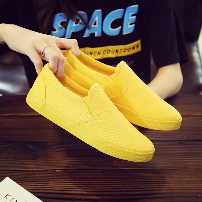 Women Vulcanize spring auntum Shoes Summer Breathable fashion Trainers Casual Shoes Cheap yellow Canvas Platform Shoes Sneakers (2)