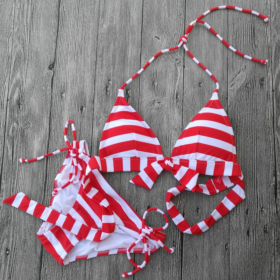 Red Striped Triangle Bikini Swimwear Women 2017 Sexy Thick Swimsuit Swimming Suit Design Secret Bathing Suit Bikinis<br><br>Aliexpress