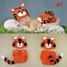 Newborn Crochet Knitted Costume Animal pattern Tiger Bear Hammock Cocoon Outfits Baby Photography Props Birthday Party Gifts