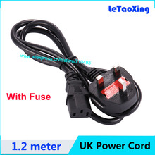 1pcs AC Power Cord Cable Desktop Monitor Computer Universal 3 Prong fused GB UK Cord With Fuse 1.2M