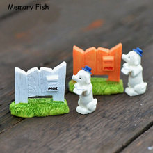 Mini cute Puppy&Fence mailbox animal statuette Anime Action Figure Micro garden decor figurine toys Succulents DIY accessories(China)