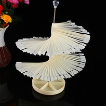 120Pcs Clear and Natural Spiral Fan Shape Nail Art Display Stand False Nail Display Shelf Gel Sticker Decorations Salon Tool