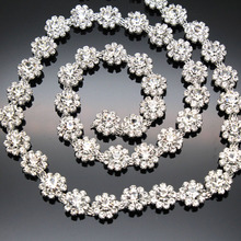 1 yard AAA-Grade Flower Crystal Clear Round Glass Rhinestone Cup Chain Silver Base Dress Belt Trim Applique Sew on Garment(China)
