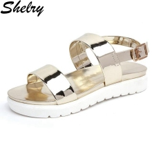2017 summer shoes woman flat heel soft leather gold and sliver quality women sandals brand design beach shoes women's sandals