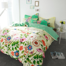 100% Cotton fabric quilt bedding sets 4/5pcs woven green floral duvet cover queen full size child kids bed sheet home textile