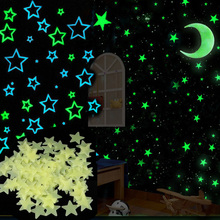 100PCS/Set 6 Colors Glow star moon Wall Stickers for kids rooms Decal Baby Bedroom Home Decor Color Stars Luminous Fluorescent