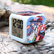 TouHou Project LED Colors Changing Alarm Clock Thermometer Night Glowing(China)
