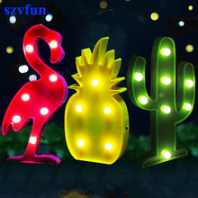 szvfun Luminaria Flamingo Lamp Pineapple Table Lamp Cactus 3D NightLight Marquee LED Letter Night Light Home Xmas Party Decor