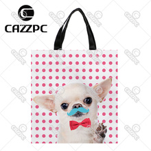 Pink Dot cute Tiny Chihuahua Moustache Red Bow Tie Pattern Print Custom individual waterproof Nylon Fabric shopping bag gift bag