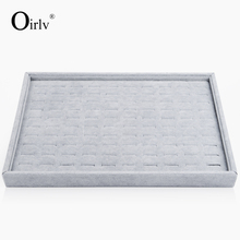 Oirlv Free Shipping Stackable 100 Slots Jewelry Ring Display Tray Velvet Case Box Jewelry Storage Box Holder Organizer Expositor