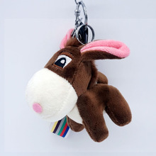 Wool Donkey Plush Keychains Keyrings Men Women Bag Accessory Pendant Charm Mini Animal Stuffed Toy Wrist Rope Key Chain Gift(China)