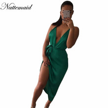 NATTEMAID Party night Green dress satin Split Blackless dresses Fashion Women Sexy Club off Sleeveless vestidos free shipping(China)