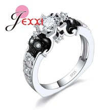 JEXXI Mystery 925 Sterling Silver Rings Cubic Zirconia Double Skull Head Finger Jewelry for Women Girls Party