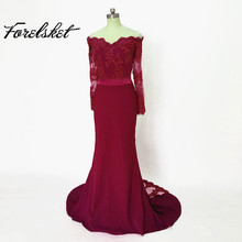 Vestido De Festa Longo Mermaid Lace Top Bodice Slim Line Long Bridesmaid Dresses Fast Shipping Charming Wedding Party Gowns New