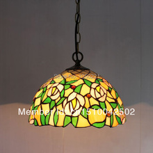 Rose Tiffany Stained  Glass Pendant Lamp European Style Bar Coffee Shop Light Dia 30cm H 95cm