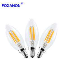 Foxanon Dimmable 220V E12 4W Filament Lamp Led Edison Retro Bulb Glass Dimming Filament Candle bulb Lamps Christmas Lights night
