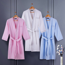 Waffle Cotton bathrobe women nightgown sleepwear for women men blanket towel lovers long super soft robe spring summer(China)