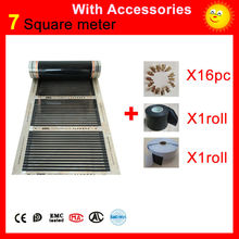 7 Square meters floor Heating infrared film, AC220V infrared wall panel heater 50cmx14m with insulating tap, daub and 16 clamps